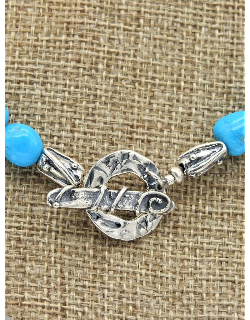 "Pam Springall Triple Strnd Sleeping Beauty Necklace 22"""
