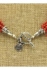 Pam Springall 5 Strand Tiny Coral Round (Italy)  Necklace