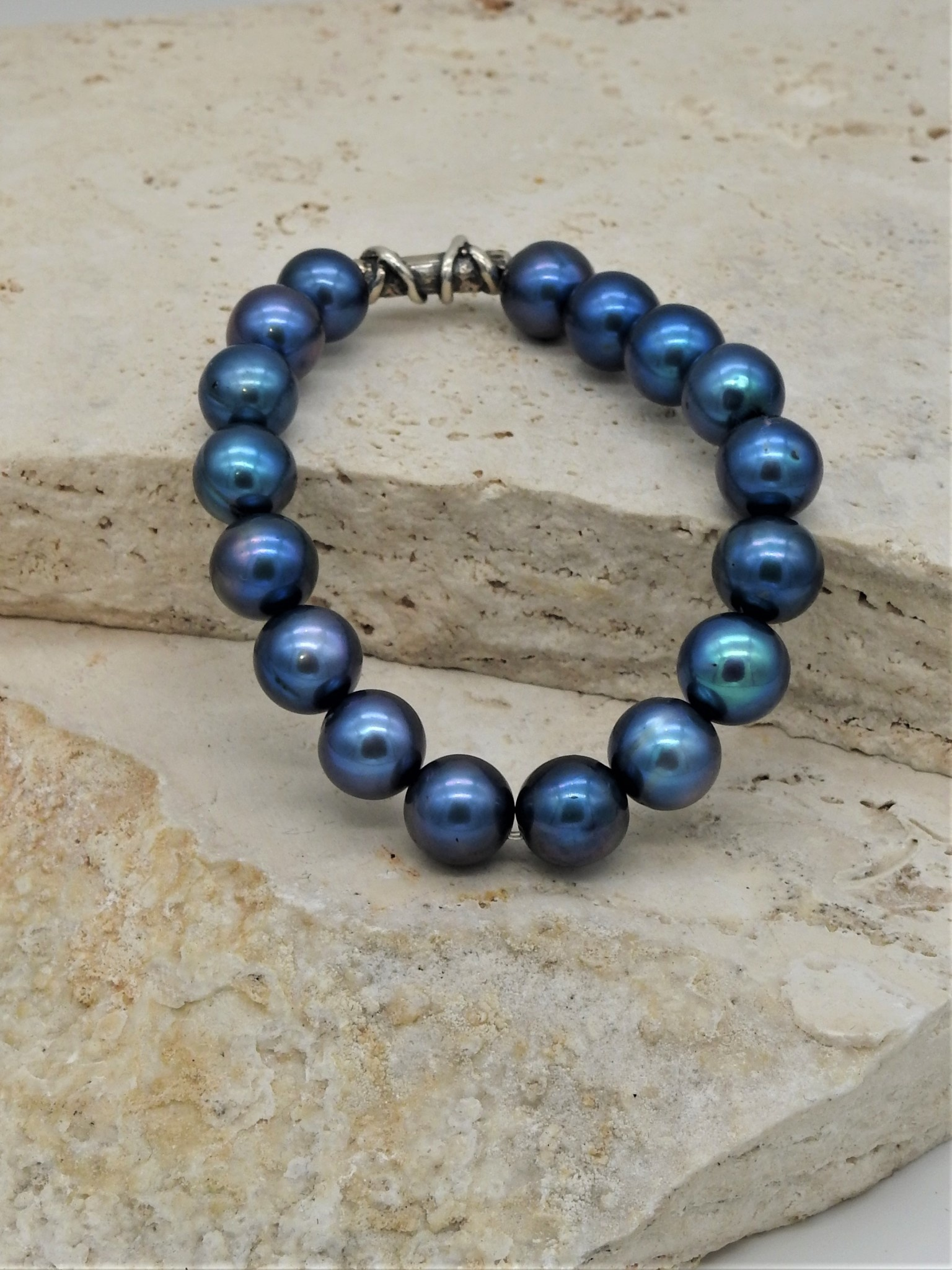 Pam Springall PS-B111C Blue Pearl, SS Bead Bracelet