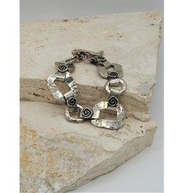 Pam Springall SS Rounded Squares, Spiral Link Bracelet