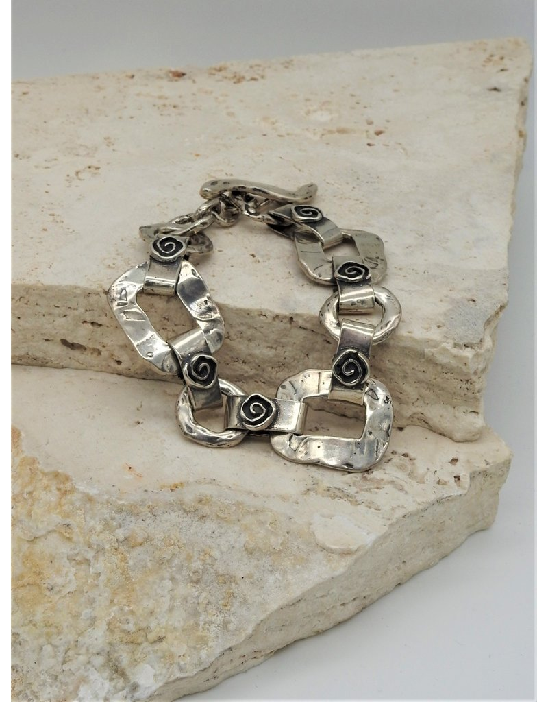 Pam Springall SS Rounded Squares, Spiral Link Bracelet