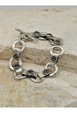 Pam Springall SS Rings, Square Spiral links w/ toggle clasp