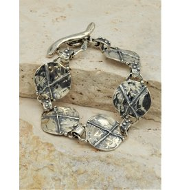 Pam Springall SS X Rounds linked, toggle clasp bracelet