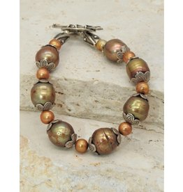 Pam Springall PS-B109C Gold Pearls w/ SS toggle clasp