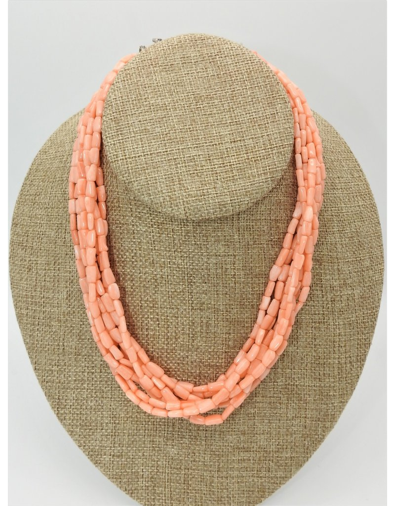 Pam Springall 8 Strand Angel Skin Coral Necklace