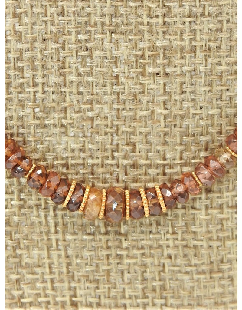 Pam Springall PS-N144C Brown Zircon Disc Beads w/18K clasp