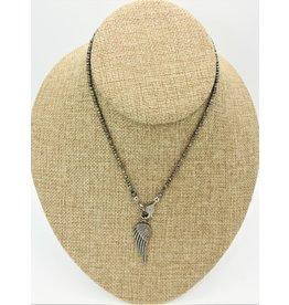 "Gildas Gewels 15"" Pyrite w/Diamond Clasp, Angel Wing"