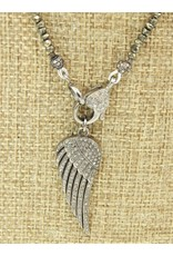 """Gildas Gewels GG-N208C 15"""" Pyrite w/Diam Clasp, Angel Wing"""