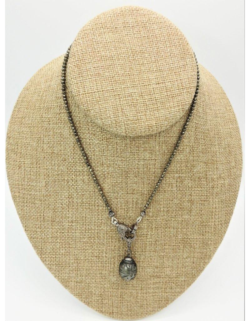 "Gildas Gewels 15.5"" Pyrite w/Diam Clasp, Carved Prl Pndt"