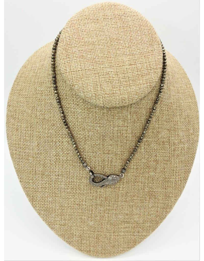 "Gildas Gewels 15.5"" Pyrite Beads w/Diamond Snake Clasp"
