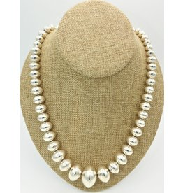 "Ray Van Cleve 23"" SS Half Round Bead Necklace"