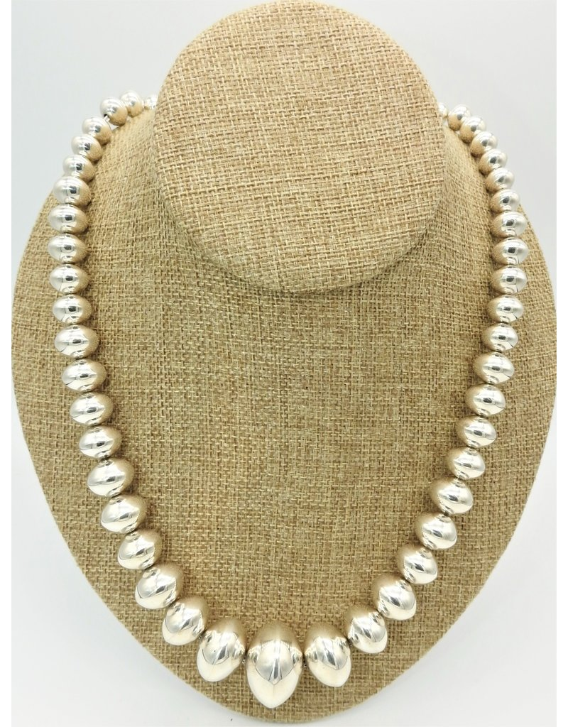 """Ray Van Cleve 23"""" SS Half Round Bead Necklace"""