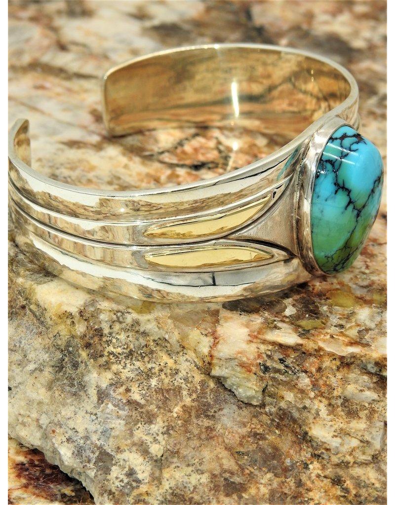 Ray Van Cleve Sterling Silver & 18K w/Turquoise Bracelet