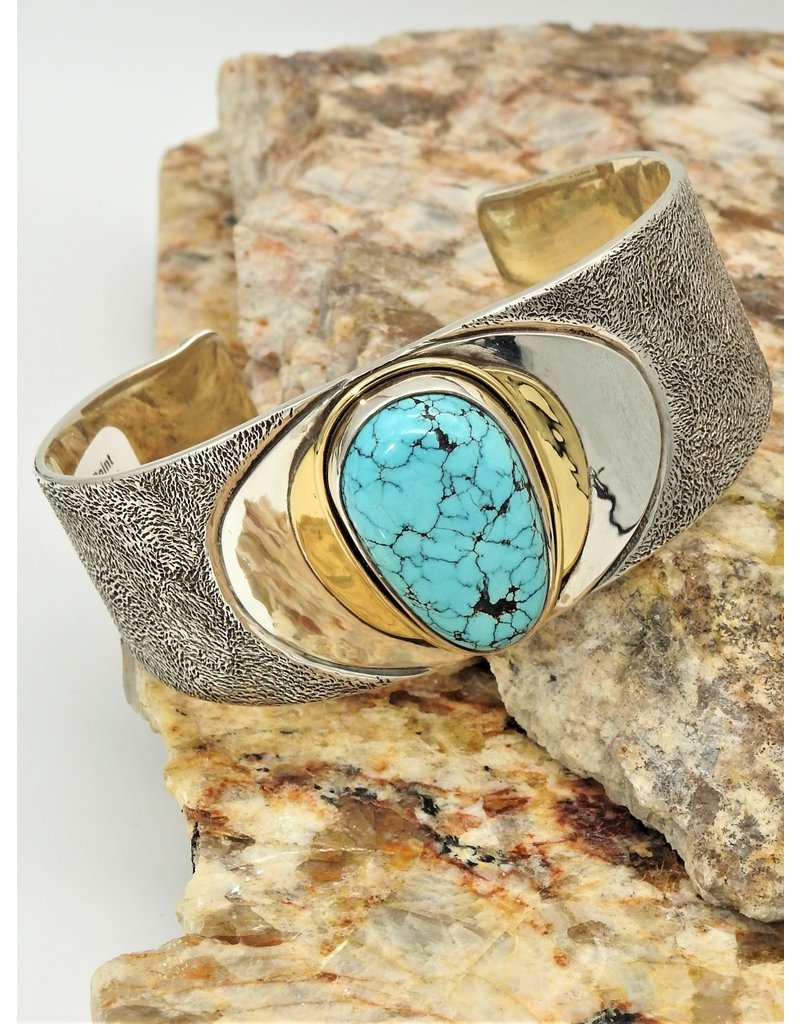 Ray Van Cleve Sterling Silver Point Textr. Surf. & Turquoise Bracelet