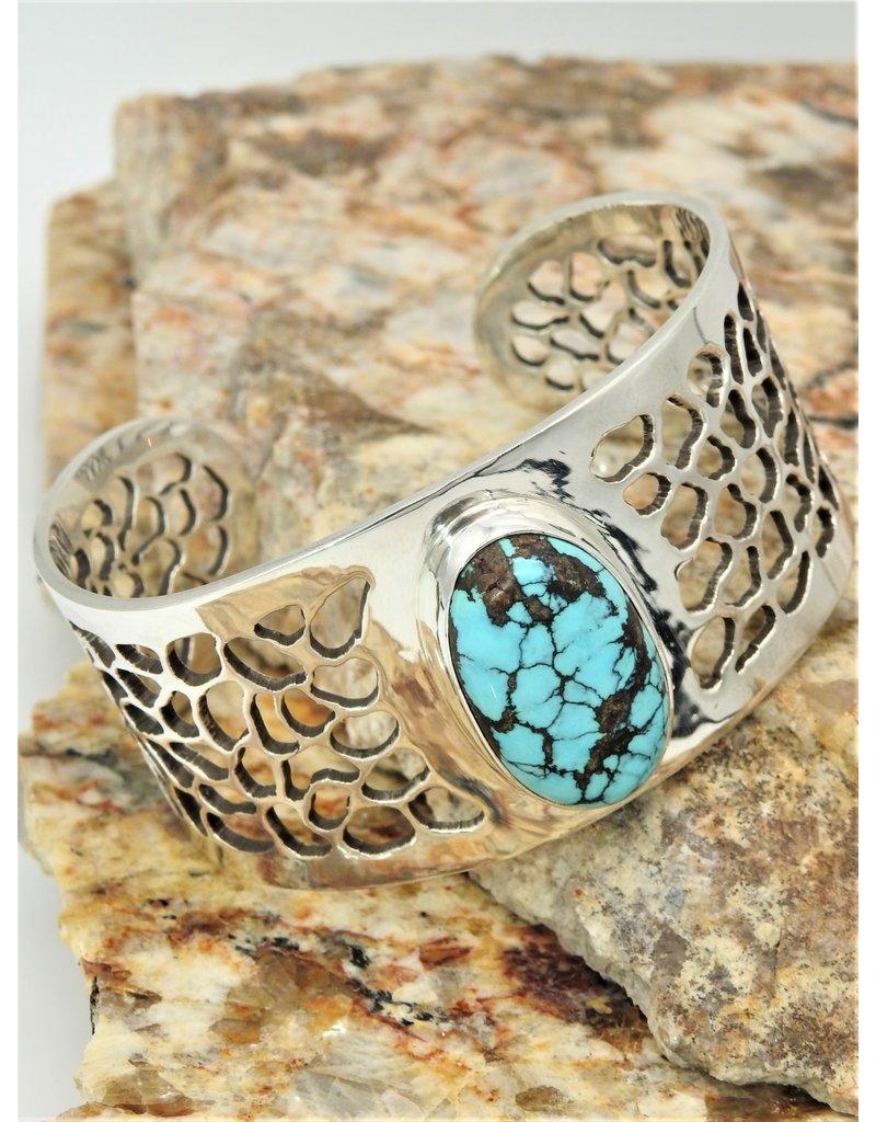 Ray Van Cleve RVCB4-C SS w/lace design & chns turq bracelet