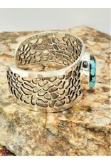 Ray Van Cleve Sterling Silver Lace Design Cuff w/Turquoise