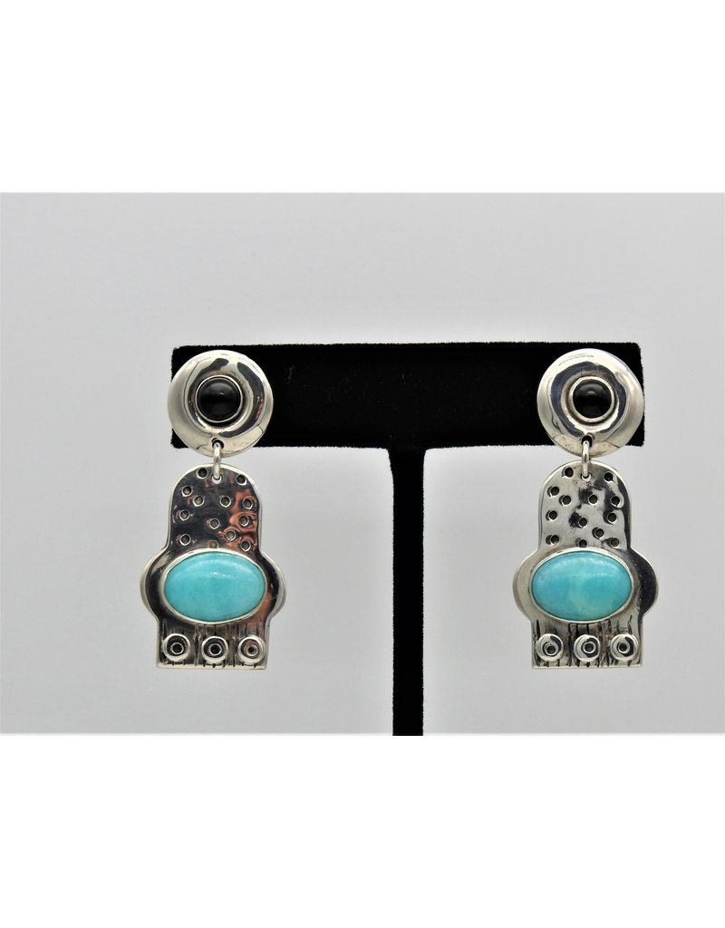 Judy Perlman Sterling Silver with Amazonite & Onyx Earrings