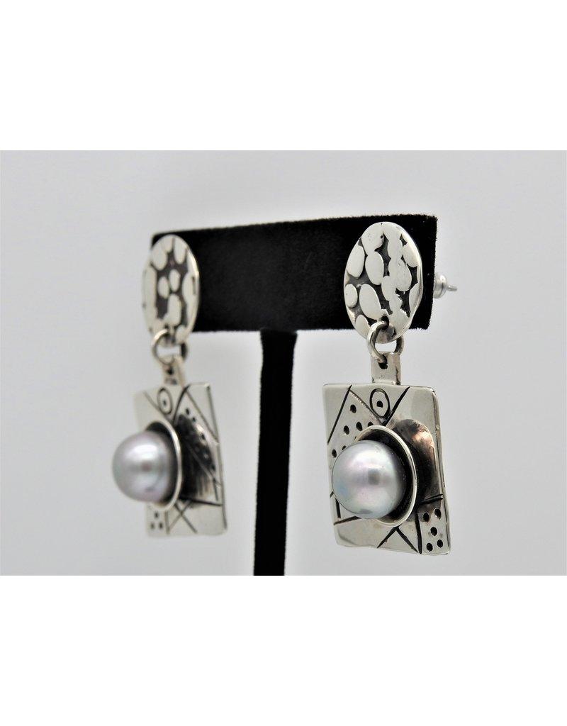 Judy Perlman JP-E17C Sterling Silver w/ Pearl