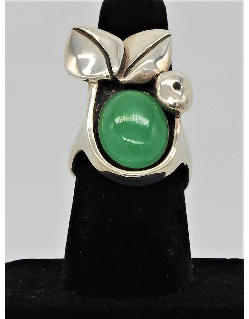 Judy Perlman JP-R28C Sterling Silver w/ Burnese Jade