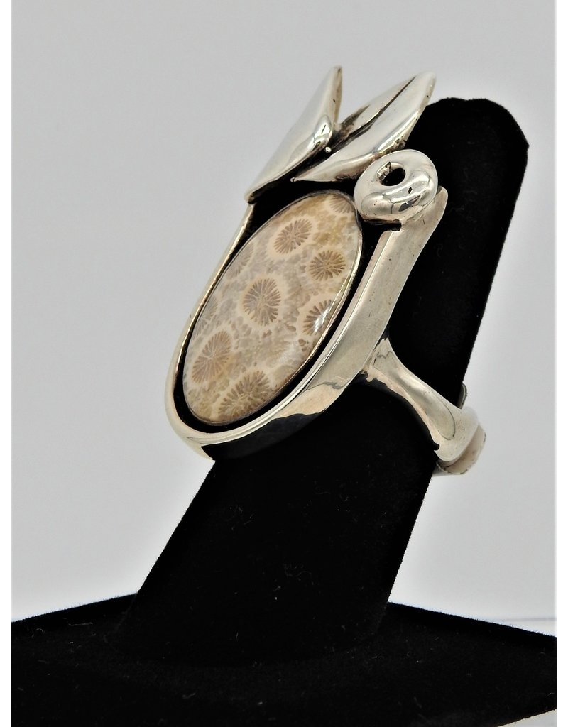 Judy Perlman JP-R24C Sterling silver w/ Fossil Coral