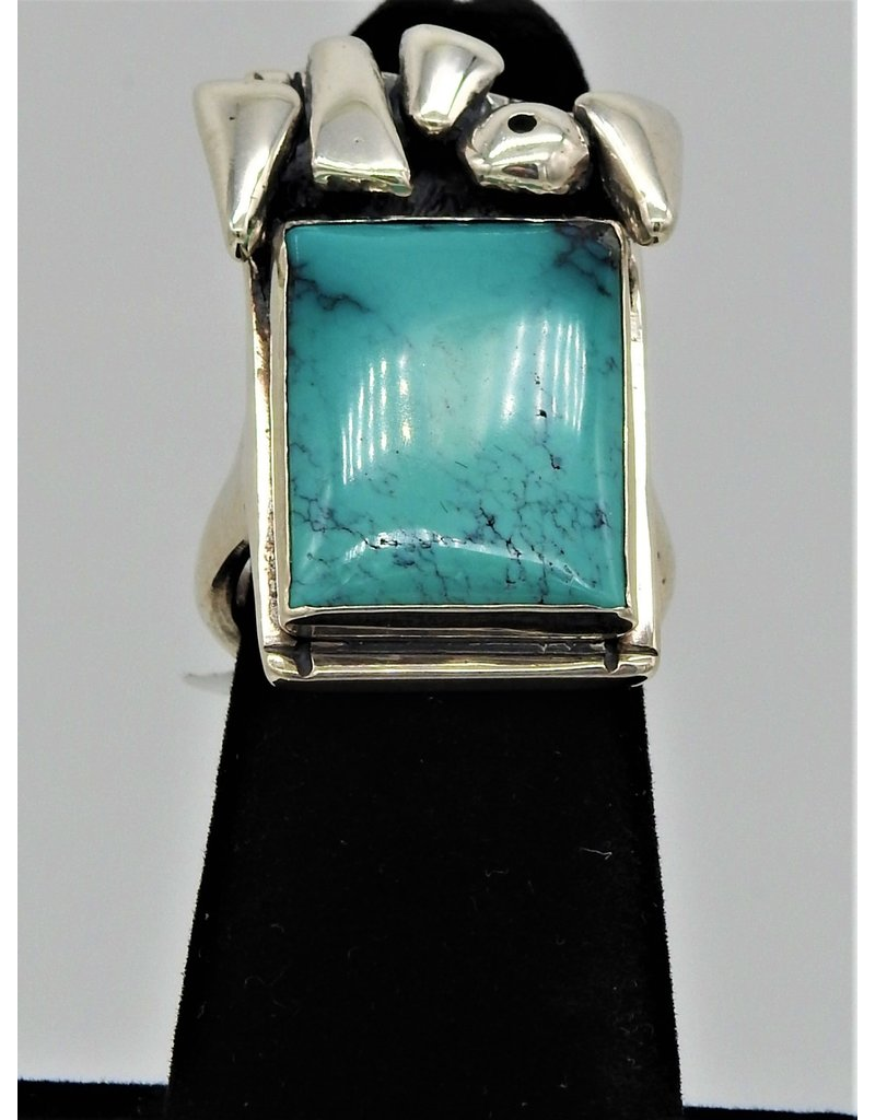 Judy Perlman Sterling Silver w/ Turquoise  Ring sz 7
