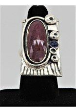 Judy Perlman Sterling Silver, Faceted Ruby w/ Lolite Ring sz  8