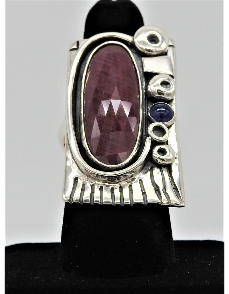 Judy Perlman JP-R41C SS, Faceted Ruby w/ Lolite 8