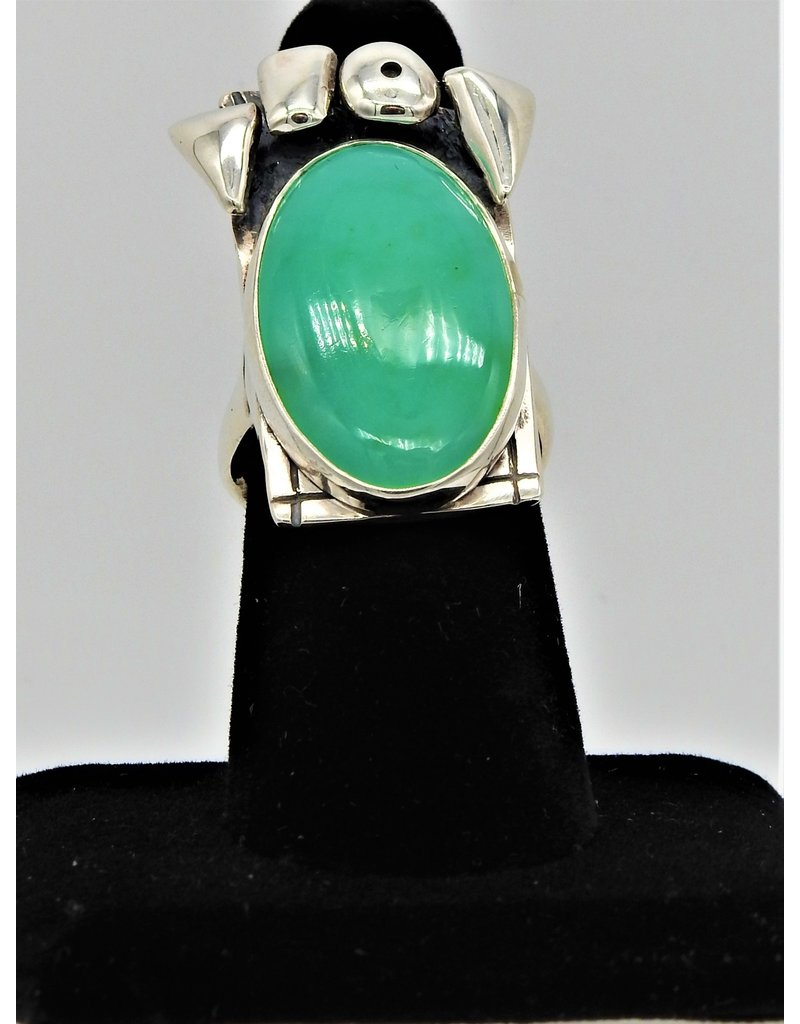 Judy Perlman Sterling Silver w/ Chrysoprase Ring sz 7.5