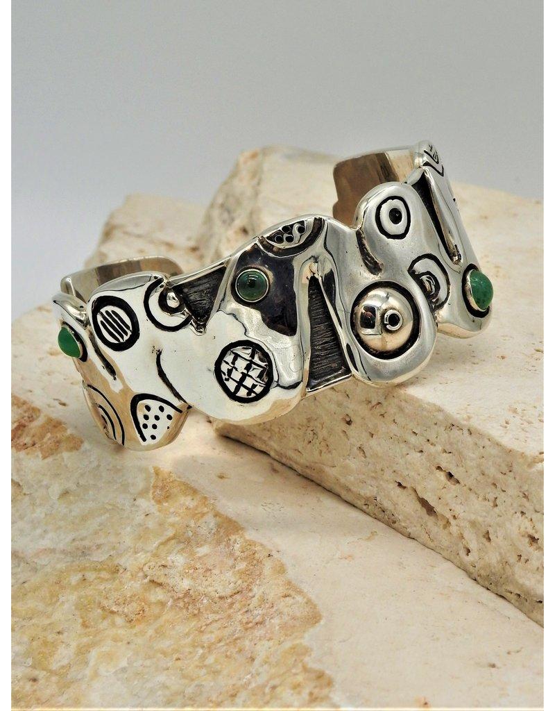 Judy Perlman JP-B40C Sterling Silver Boo Bracelet w/multi stones