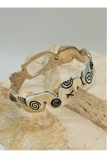 Judy Perlman JP-B39C Sterling Silver Boo Bangle w/ multi stones