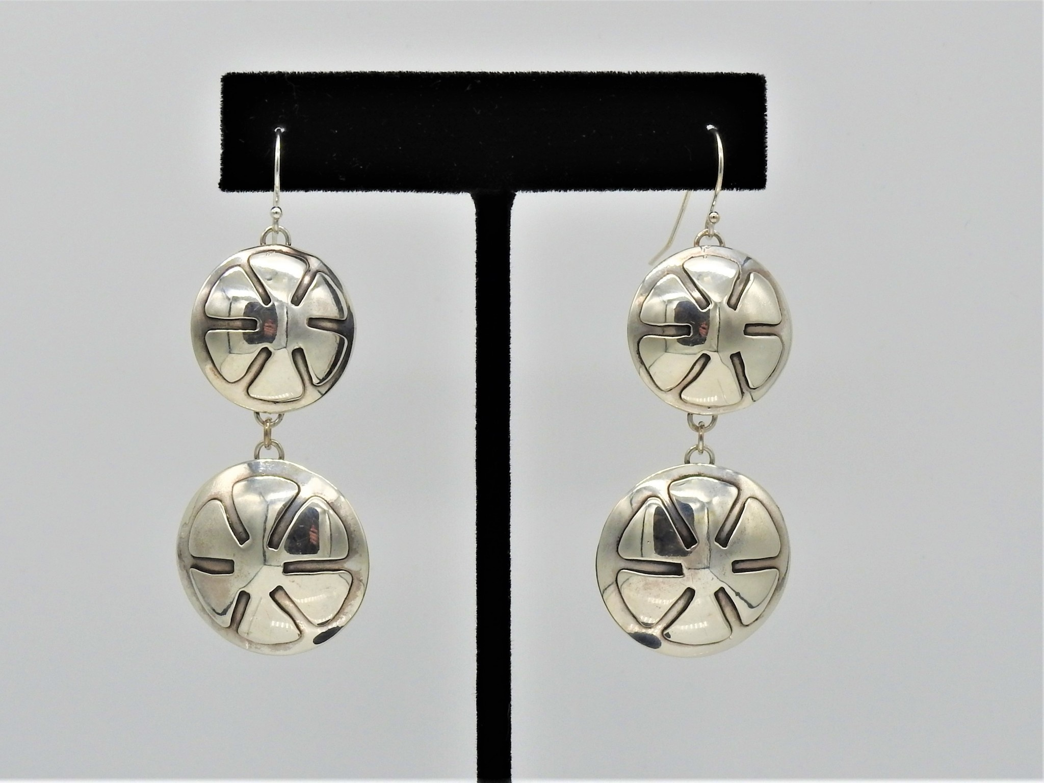 Ray Van Cleve RVCE4 Sterling Silver Double Flower Overlay