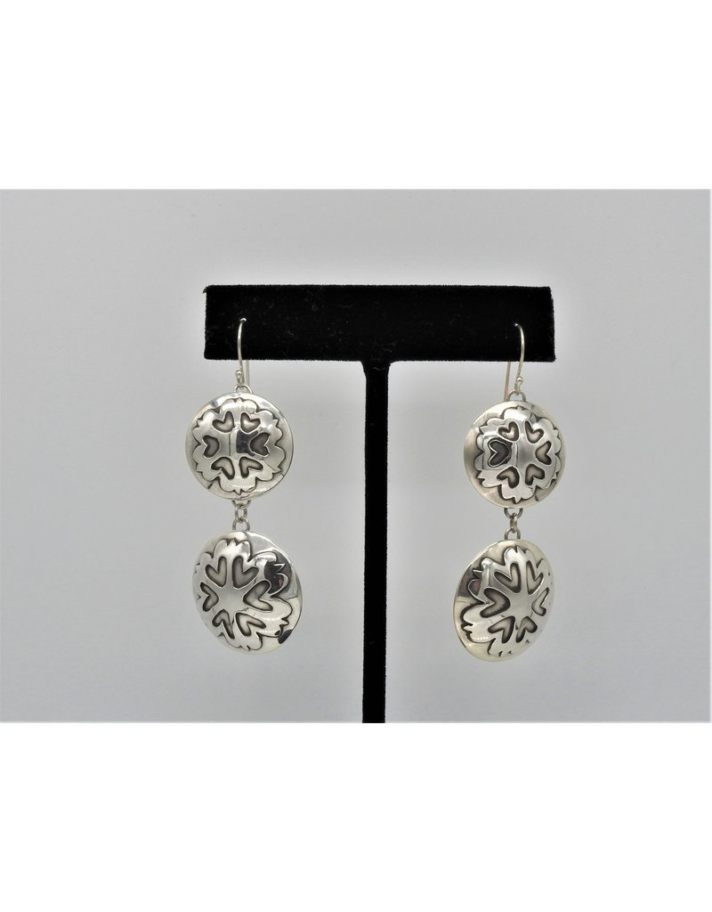 Ray Van Cleve Sterling Silver Double Heart Overlay Earrings