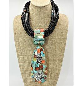 Jolene Bird Black 20 Strnd w/ Inlayed Pendant Necklace