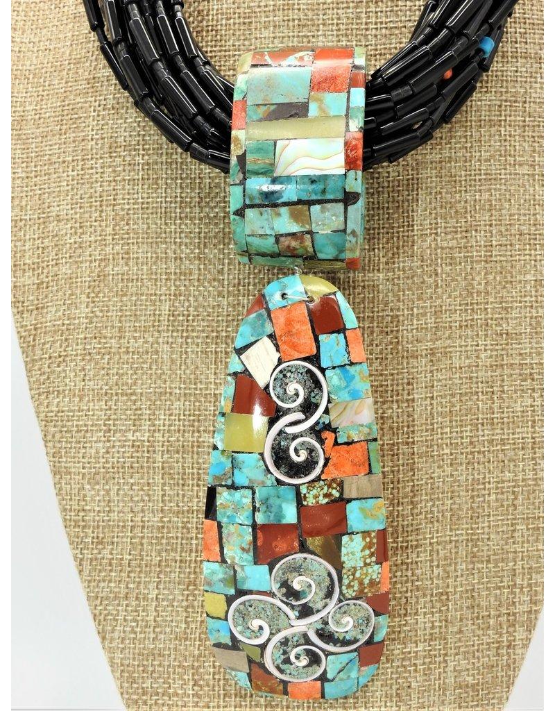 Jolene Bird JB-Black 20 Strnd w/ Inlayed Pendant Necklace