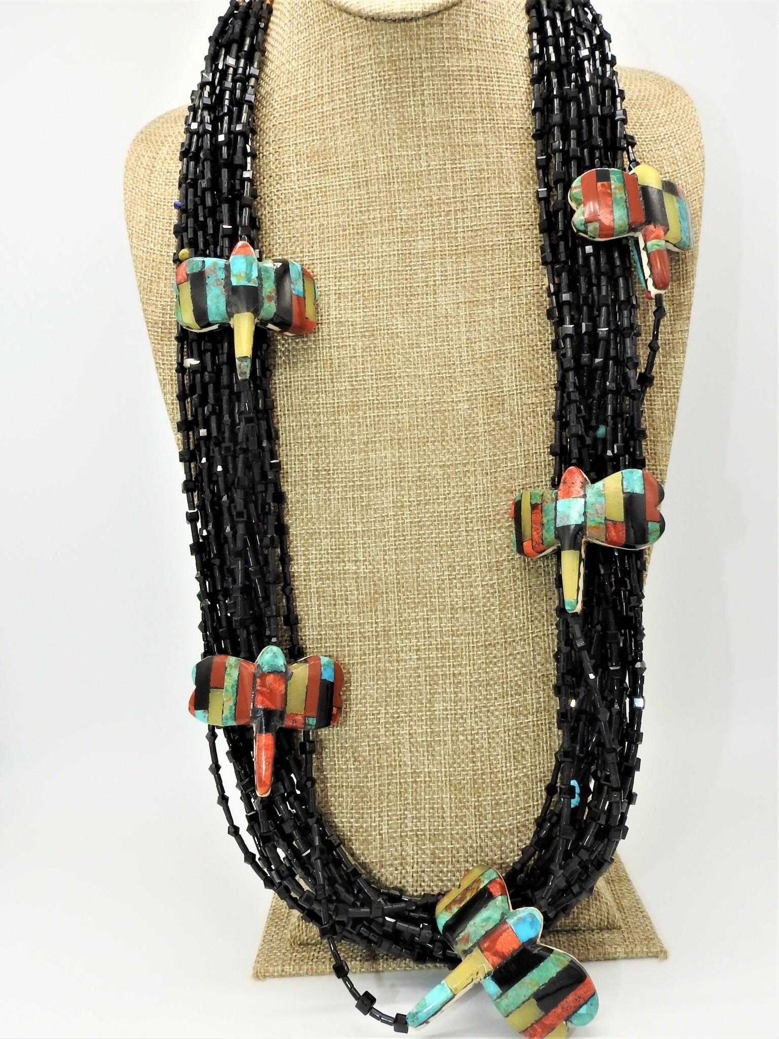 Jolene Bird JB-Black Onyx w/ Inlayed multi stones dragonflies
