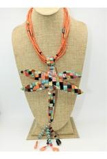 Jolene Bird JB-Coral Necklace w/ Lg.Dragonfly Multi Stone Inlay