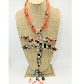 Jolene Bird JB-Coral Necklace w/ Lg.Dragonfly Multi Stone Inlay