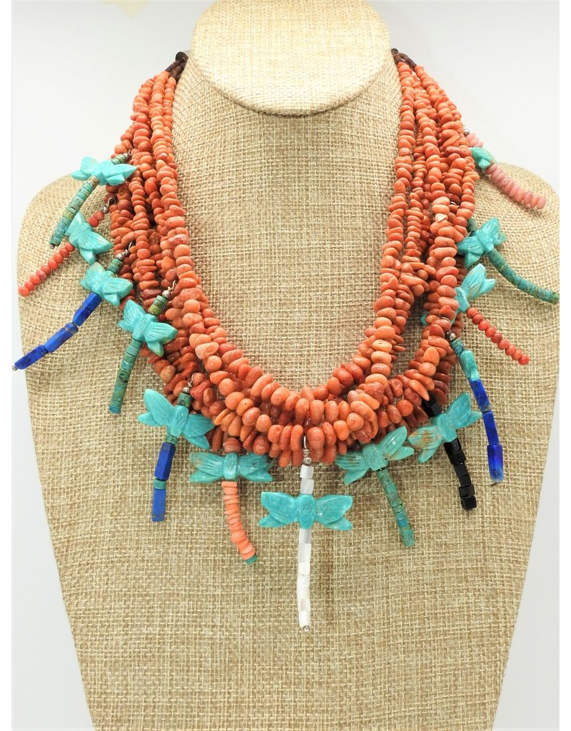 Jolene Bird Spiny Oyster w/ Turquoise Dragonflies Necklace
