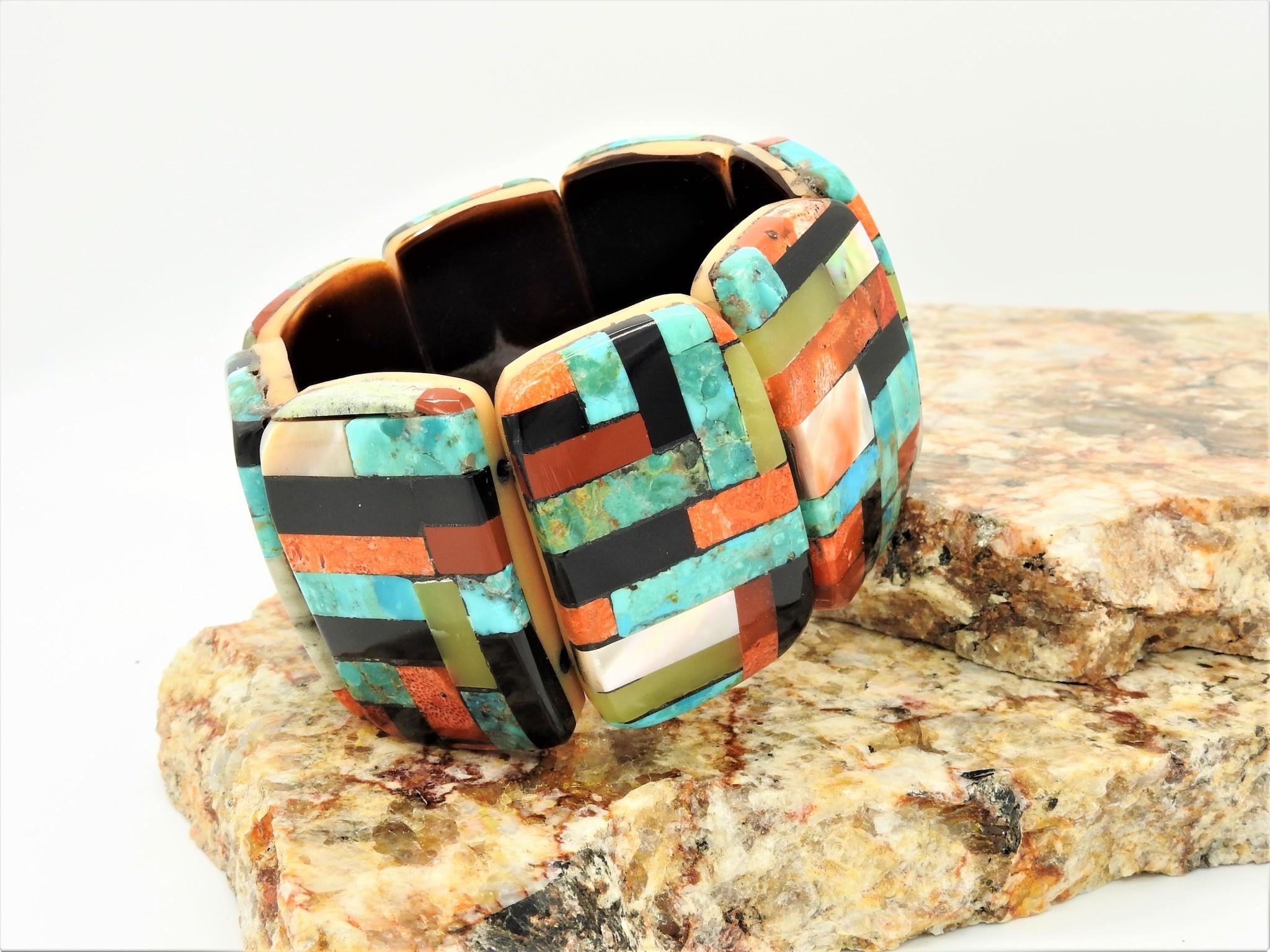 Jolene Bird JB-Inlayed multi stone rectangles on long horn brac.
