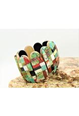 Jolene Bird JB-Inlayed multi stone ovals on cotton wood brac.