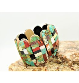 Jolene Bird JB-Inlayed multi stone ovals on cotton wood brac.