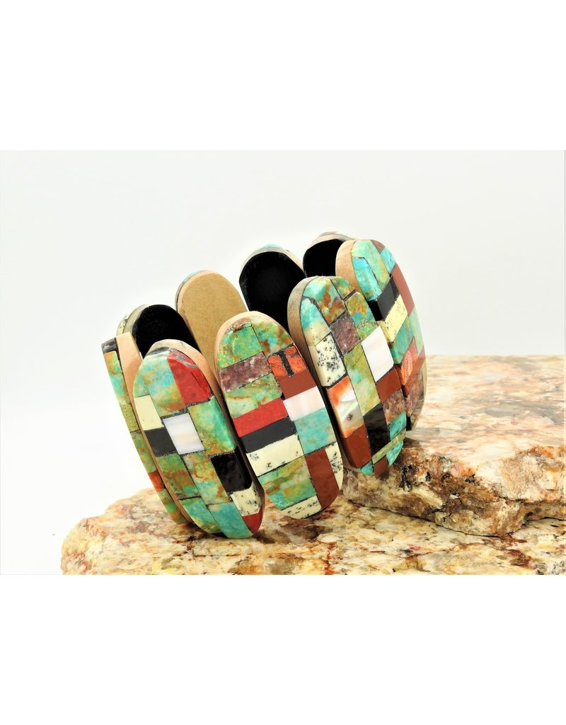 Jolene Bird Inlayed multi stone ovals on cotton wood brac.