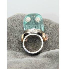 Bliss Rox Blue Moon Obsidian SKR303 Skull Ring