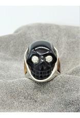 Bliss Rox Blk Obsdn Skull, SKR307 Diam eyes  w/ Tigereye & Onyx