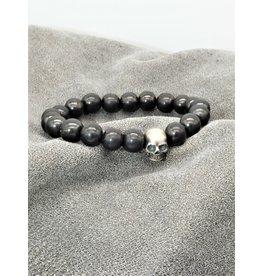 Bliss Rox BR-C Heavy Silver Skull & Shungite Bracelet