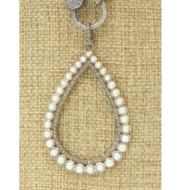 Diva Jewels 9661-P (Pearl and diamond teardrop pendant)