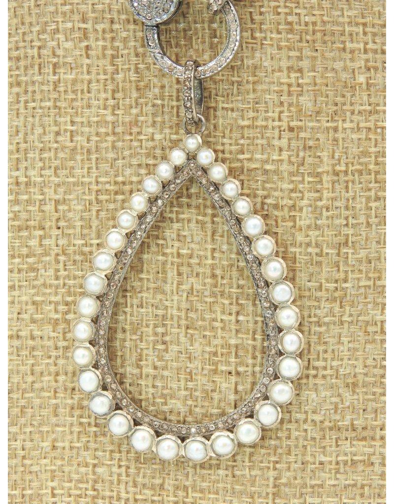 Diva Jewels 9661-P (Pearl and diamond teardrop pendant)