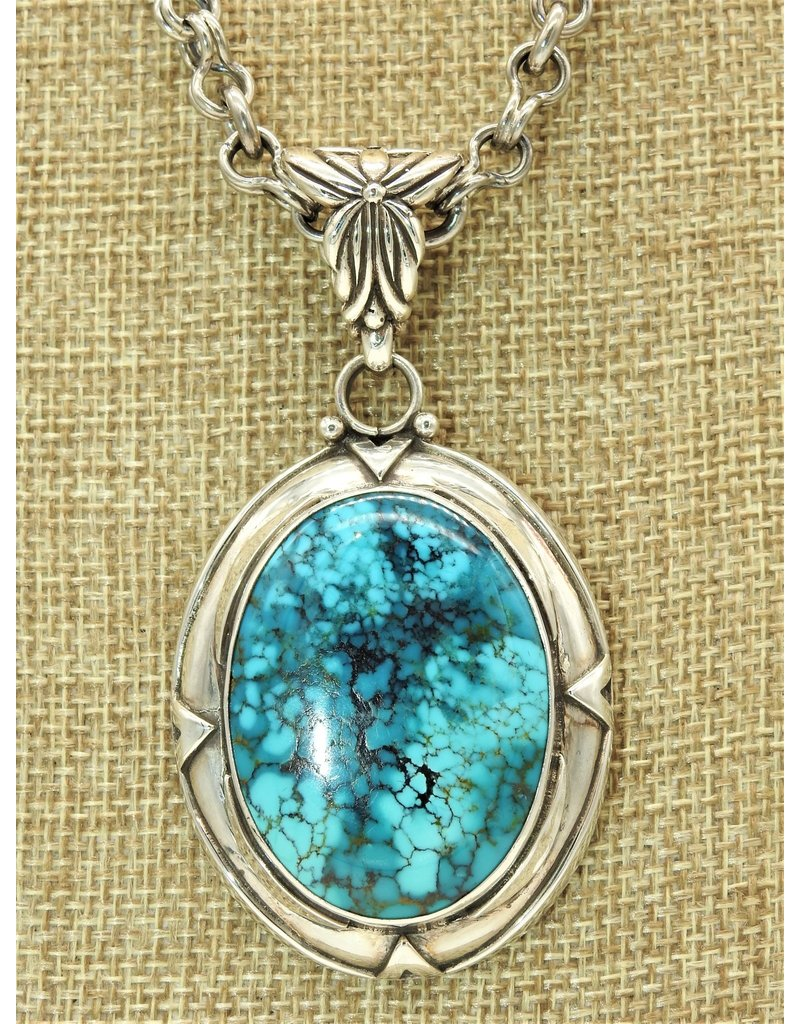 Shreve Saville SS w/Spiderweb Blue Turquoise Pendant