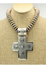 SW Native American Lg. Sterling Silver Cross Pendant(beads sold separately)