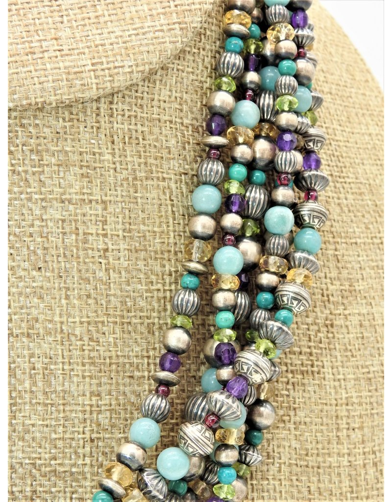 SW Native American SW-Beads Multi 6 Strand Necklace